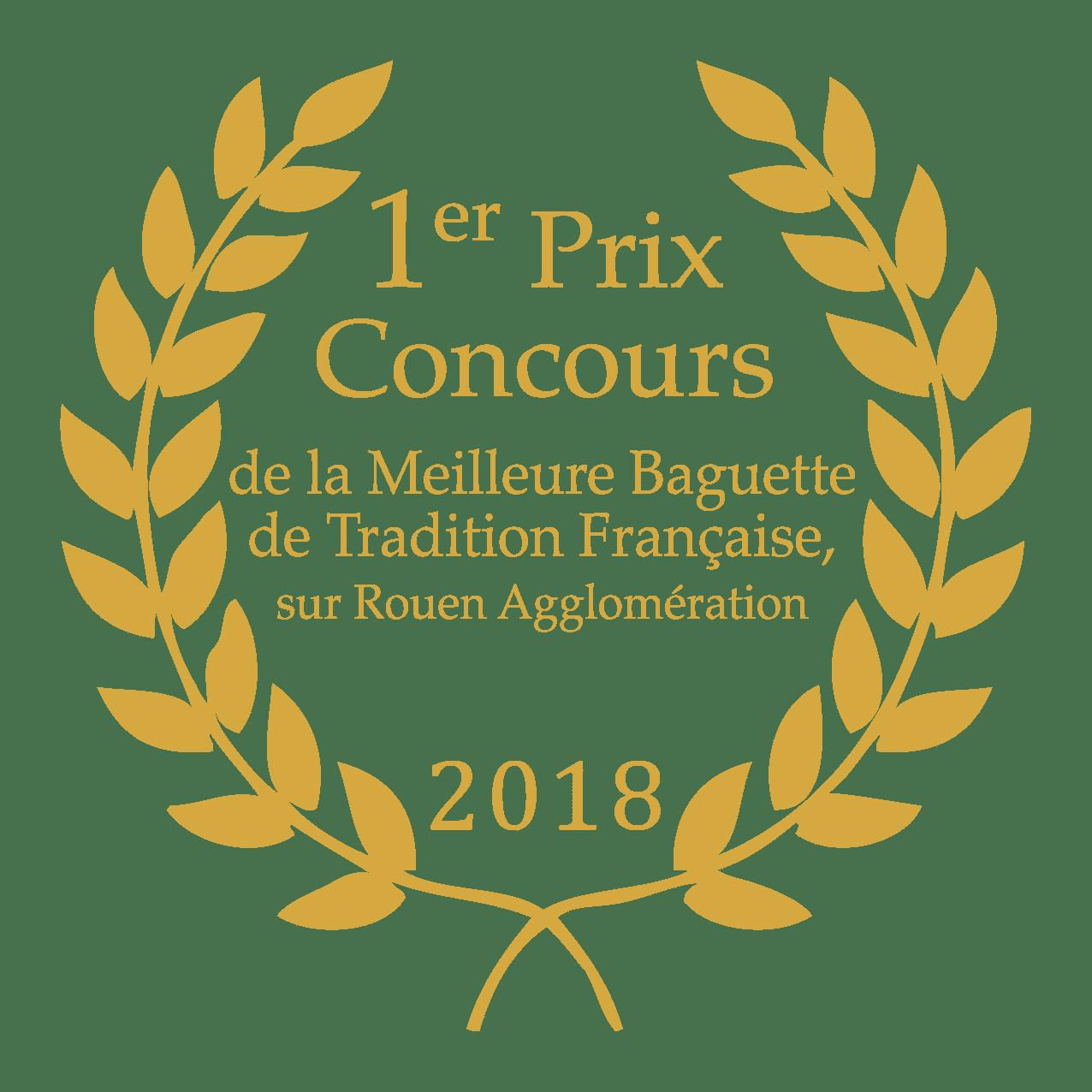 1er prix Concours de la Meilleure Baguette de Tradition Française, sur Rouen Agglomération 2018